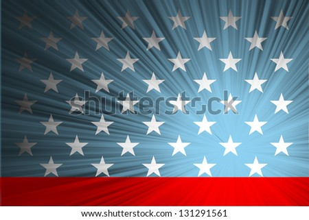 American flag with the rays - stock vector