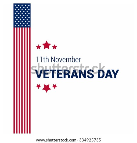 American flag with typography Happy Veterans Day. November 11th, United state of America, U.S.A veterans day design. Beautiful USA flag Composition. veterans Day poster design - stock vector