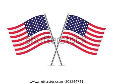 American Flags. Flags of USA. Vector illustration. - stock vector