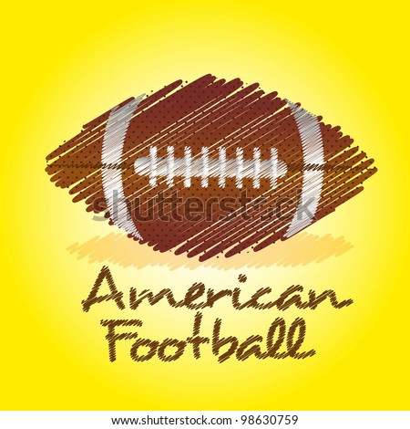 american footbal drawing over yellow background - stock vector