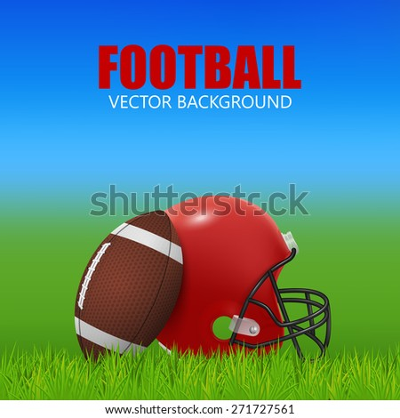 American football background - red helmet and ball on the field. Vector EPS10 illustration.  - stock vector