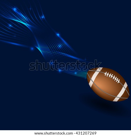 American football ball in neon lines - stock vector