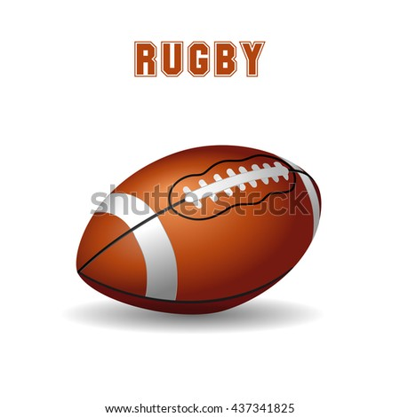 American football ball on white background. Rugby icon, logo. Vector illustration