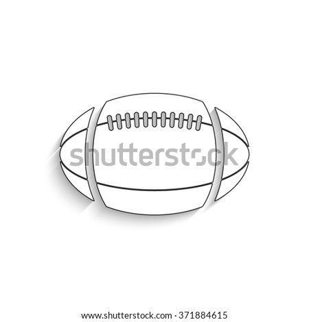 American football ball - white vector icon with  shadow