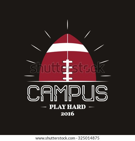 American football campus logotype, emblem, label, insignia in retro color style. Graphic vintage logo design for t-shirt, web. Colorful print isolated on a dark background. Vector illustration - stock vector