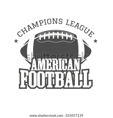 American football champions league badge, logo, label, insignia in retro color style. Graphic vintage design for t-shirt, web. Monochrome print isolated on a dark background. Vector illustration - stock vector