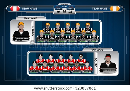 American Football field and Player Lineup with strategy elements
