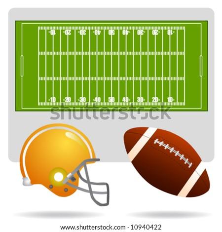 american football field, ball and helmet vector - stock vector