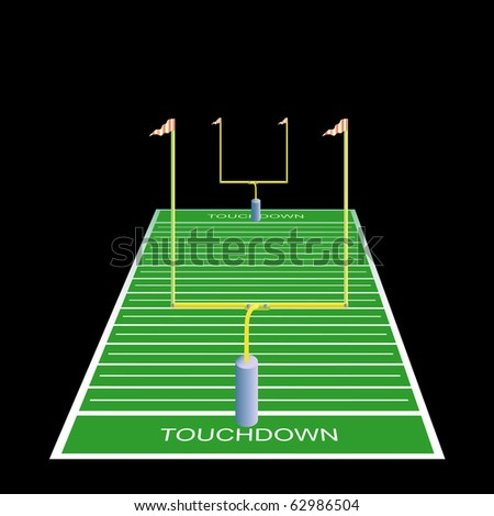 American football field with goals. Vector illustration. - stock vector