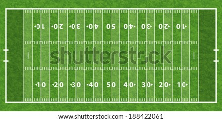 American Football Field with Line and Grass Texture, vector illustration - stock vector