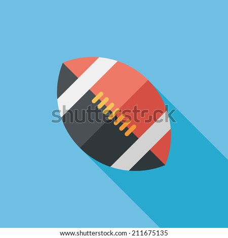 american football flat icon with long shadow,eps10 - stock vector