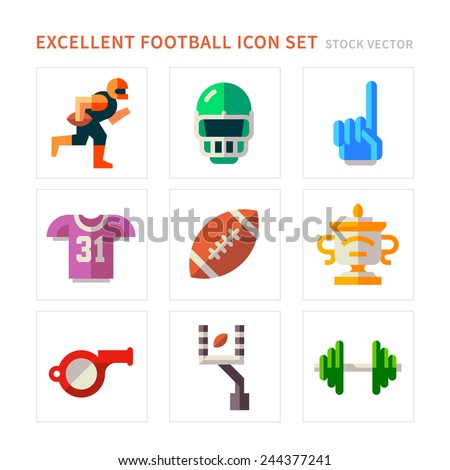 American Football flat icons - stock vector