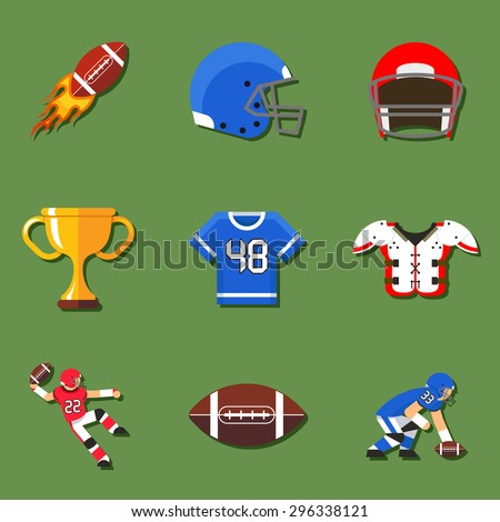 American football flat icons set. Helmet and sport, touchdown and quarterback, trophy game. Vector illustration - stock vector
