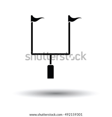 American football goal post icon. White background with shadow design. Vector illustration.