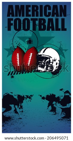 american football grunge poster - stock vector