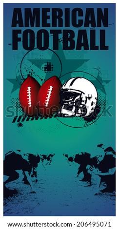 american football grunge poster - stock vector
