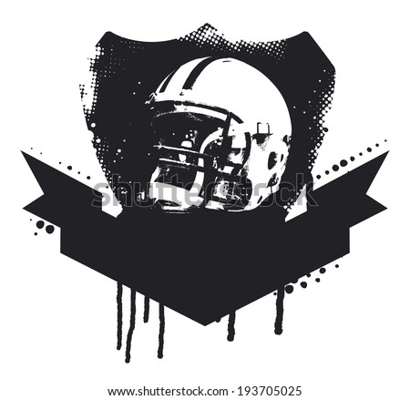 american football grunge shield - stock vector