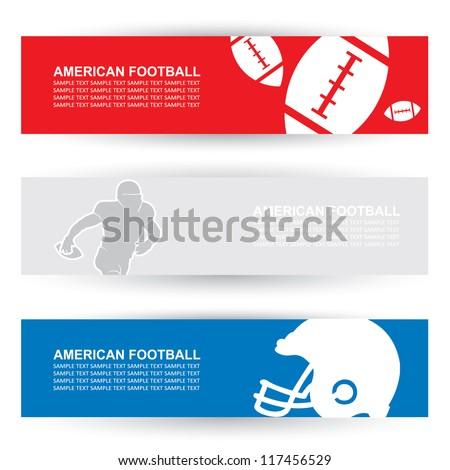 American football headers - vector illustrations - stock vector