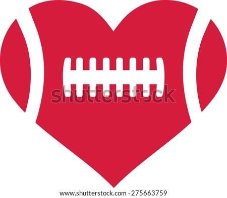 American football heart - stock vector
