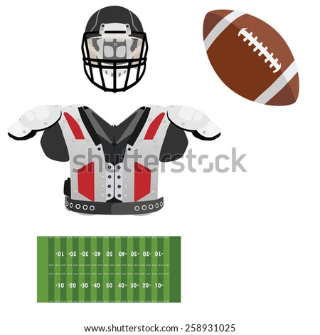 American football helmet, brown leather ball, field green grass and armour vector icon set,sport equipment, national sport - stock vector