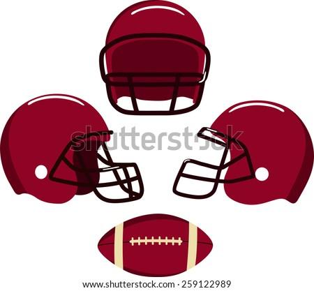 American football helmets and ball.  Vector illustration Eps 8. - stock vector