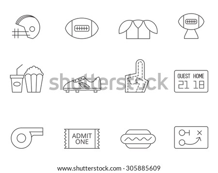 American football icons in thin outlines. - stock vector