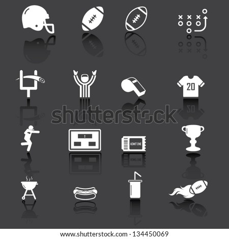 American football icons, white on grey background - stock vector
