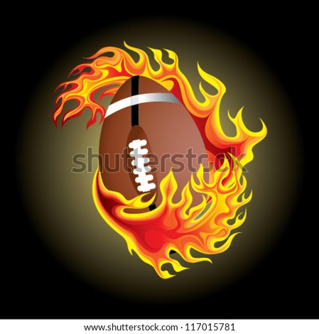 american football in flame - stock vector