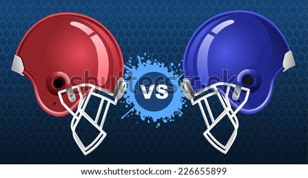 American football insignia vector illustration with two american football helmets. - stock vector