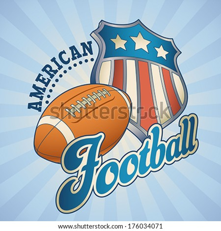 American football label with a star striped shield and a leather ball. Editable vector illustration. - stock vector