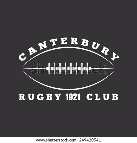American football or rugby ball, sport club logo template, black background - stock vector