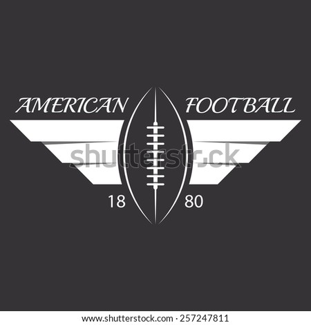 American football or rugby ball with wings, sport logo, overlapping effect - stock vector