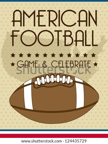 american football over vintage background. vector illustration