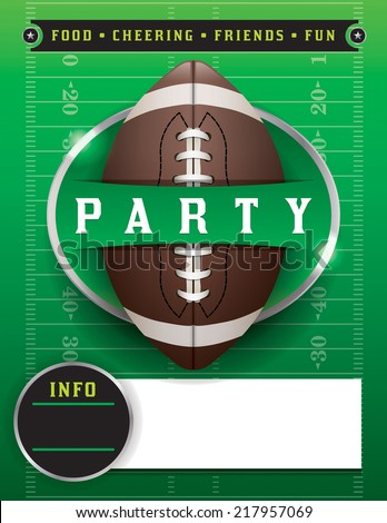 American football party illustration. Vector EPS 10. EPS contains transparencies. Fonts have been converted to outlines. - stock vector