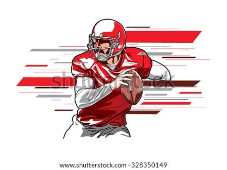 American football player3 - stock vector