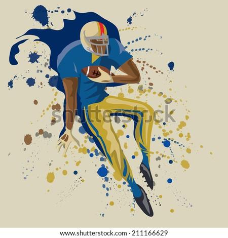 American Football Player, Abstract Sport Poster (Vector Art)  - stock vector