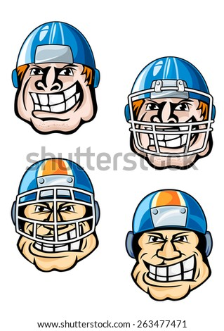 American football player cartoon characters showing heads of burly men in uniform helmets with protective masks for sporting team mascot or emblem design - stock vector
