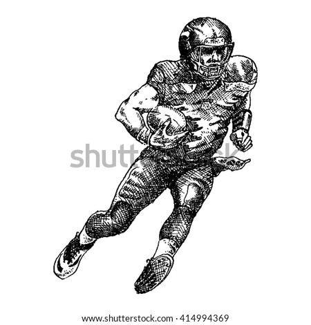 American football player - engraving