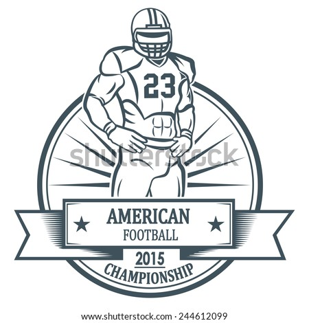 American football player. For your labels or badges design. - stock vector