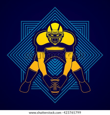 American football player front view designed on line square background graphic vector - stock vector
