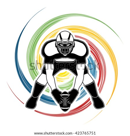 American football player front view designed on spin wheel background graphic vector - stock vector