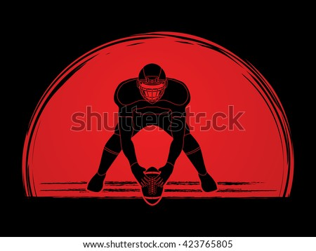 American football player front view designed on sunset background graphic vector - stock vector