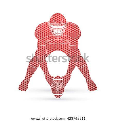 American football player front view designed using hexagon pattern graphic vector - stock vector