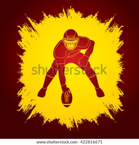 American football player posing designed on grunge frame background graphic vector - stock vector