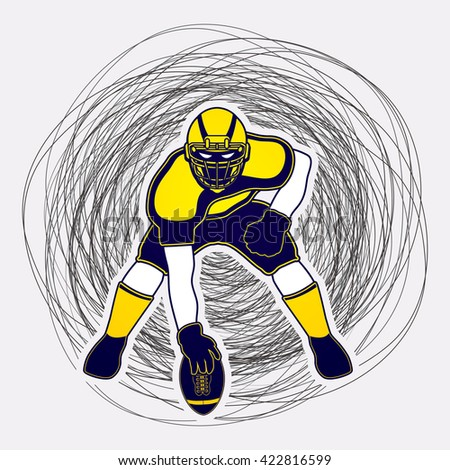 American football player posing designed on line confuse background graphic vector - stock vector