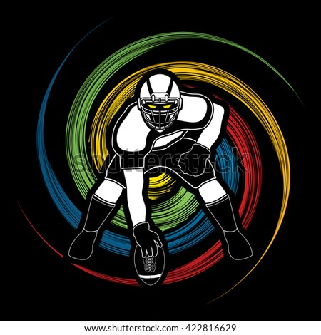 American football player posing designed on spin wheel background graphic vector - stock vector