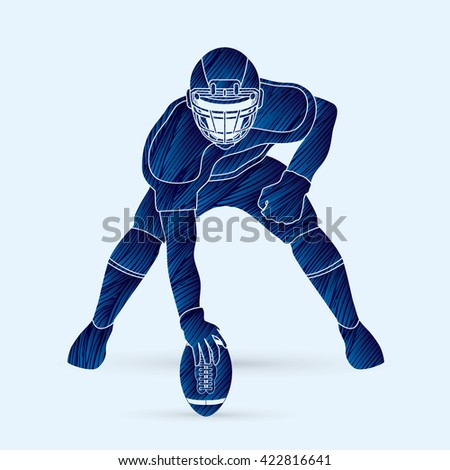 American football player posing designed using blue grunge brush graphic vector - stock vector