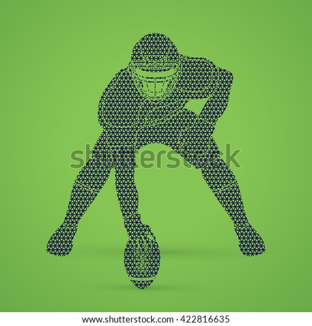American football player posing designed using geometric pattern graphic vector - stock vector