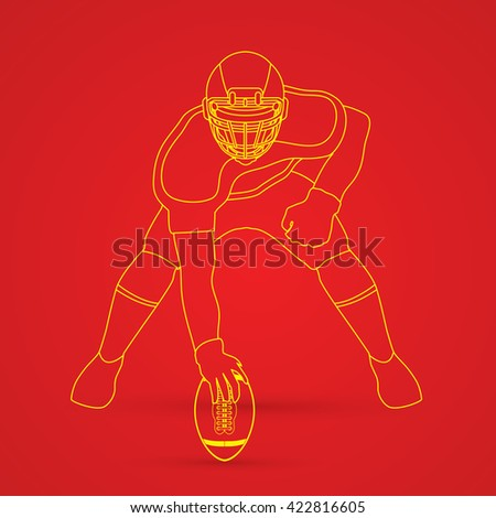 American football player posing outline graphic vector - stock vector