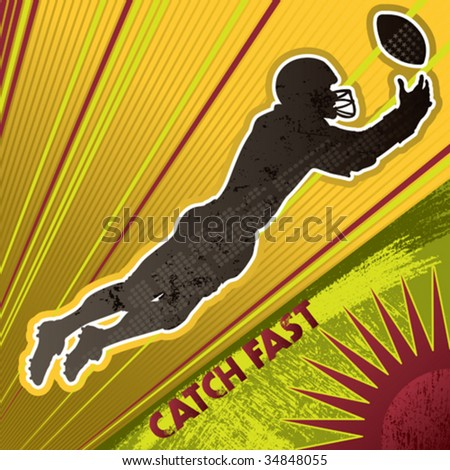 American football player poster. Vector illustration. - stock vector